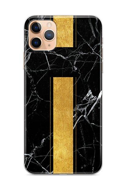 wowicase Apple Iphone 11 Pro Telefon Kılıfı Mermer Altın Şerit Tasarımlı