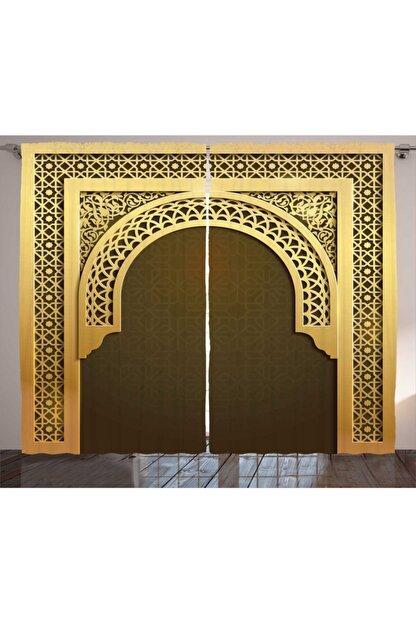Orange Venue Geleneksel Perde Krem Kahverengi Kapı