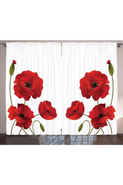 Orange Venue Çiçekli Perde Kırmızı Çiçek Desenli Görsel