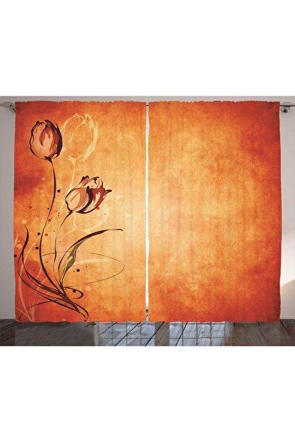 Orange Venue Çiçekli Perde Bakır Pas Tonları Çiçek Desenli