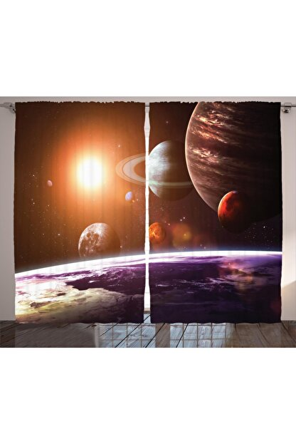 Orange Venue Uzay Perde Galaksi Güneş Sistemi Temalı Perde