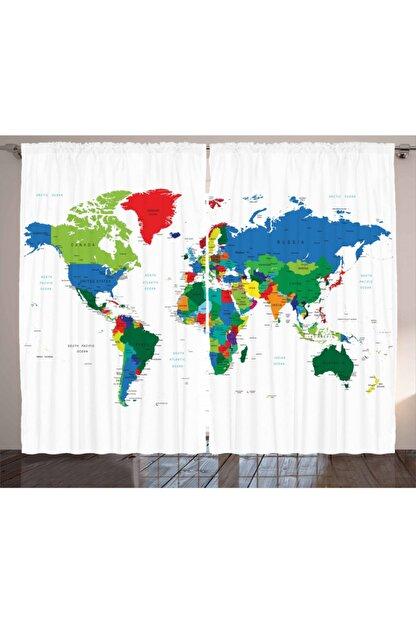 Orange Venue Haritalar Perde Rengarenk Dünya Haritası Desenli