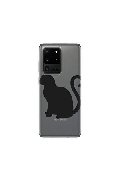 cupcase Samsung Galaxy S20 Ultra Kılıf Desenli Esnek Silikon Telefon Kabı Kapak - Kedicik
