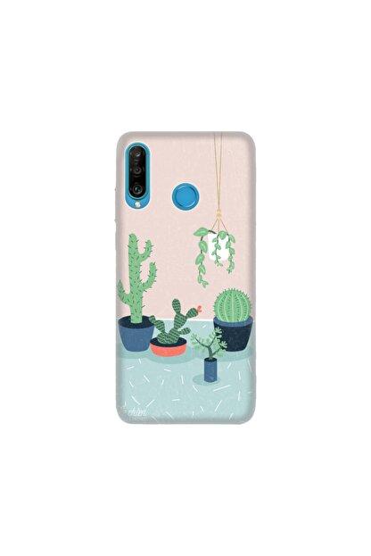 cupcase Huawei P30 Lite Kılıf Desenli Esnek Silikon Telefon Kabı Kapak - Cactus Co