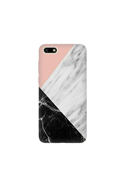 cupcase Huawei Honor 7s Kılıf Desenli Esnek Silikon Telefon Kabı Kapak - Siyah Pembe Beyaz Mermer