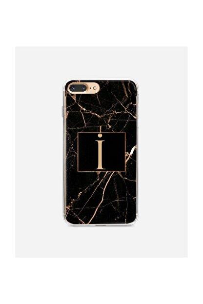 mooodcase Iphone 7 Plus Siyah Mermer Desen I Harfli Telefon Kılıfı