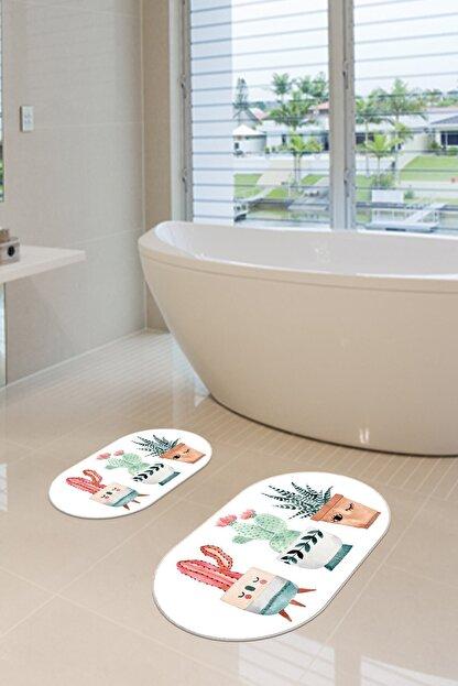 Arma House 2'li Dijital Baskılı Kaymaz Tabanlı 3 Kaktüslü Banyo Paspası