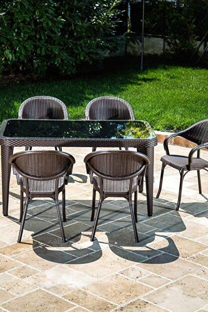 Tilia Flash 90*150 6 Kişilik Bahçe Masa Takımı -bahçe Balkon Teras Camlı Masa Takımı*kahve Rengi*