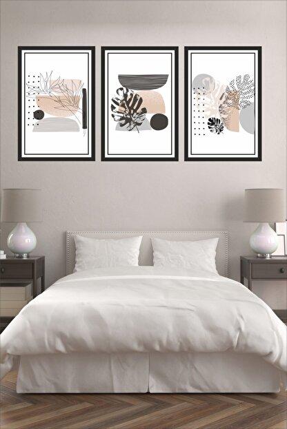 Dekor Sevgisi 3 Parça Çerçeve Görünümlü Siyah Gri Pembe Pvc Tablo Seti 30x20cm 3mm