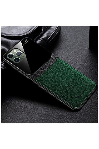 Dara Aksesuar Yeşil Apple Iphone 11 Pro Max Kılıf Zebana Lens Deri Kılıf