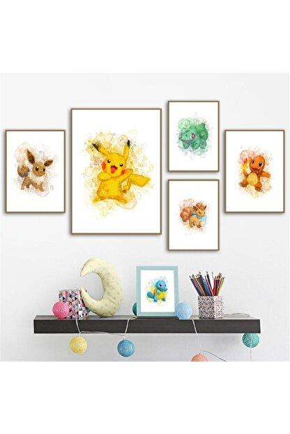 ArtCalvin 5 Parça Çerçeve Görünümlü Mdf Çocuk Odası Tablo Seti