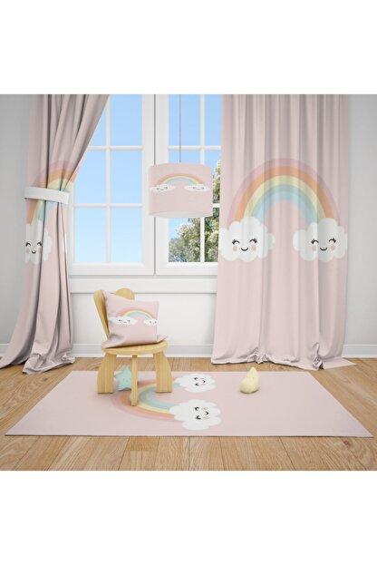 CİCİ TASARIM ÜRÜNLERİ 1 Kanat Gülen Bulut, Gökkuşağı Çocuk Bebek Odası Perdesi Fon Perde