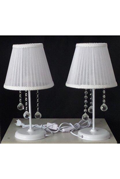 TEK-AY Beyaz Taşlı Abajur Yatak Odası Beyaz Tül Kumaşlı Beyaz Metal Ayaklı 2 Adet