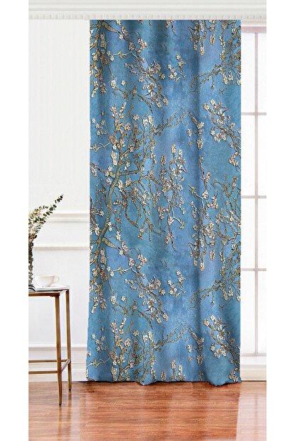 Realhomes Tek Kanat Yağlı Boya Mavi Ağaç Motifleri Dijital Baskılı Salon Fon Perdesi