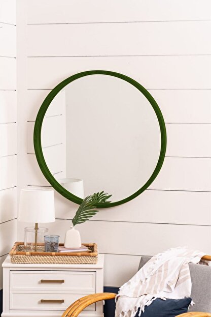 bluecape Doğal Ağaç Masif 60cm Yeşil Çerçeveli Antre Koridor Duvar Salon Banyo Ofis Çocuk Yatak Odası Ayna