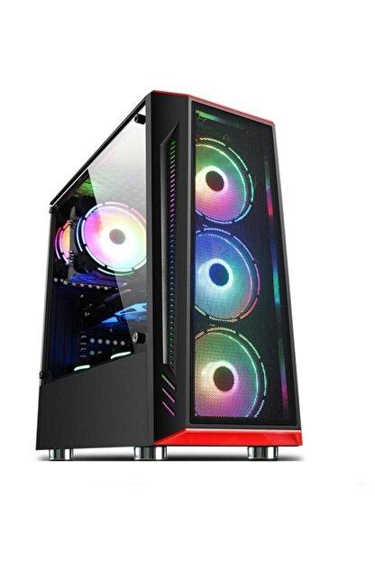 GAMETECH Redlıne Mesh 4x120mm Rainbow Fanlı Pro Gaming Oyuncu Bilgisayar Kasası (PSU YOK)