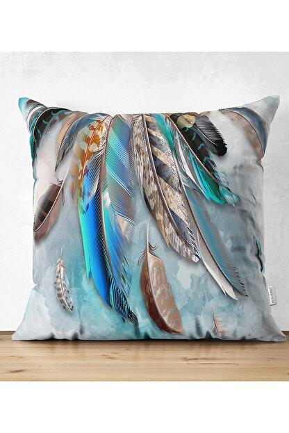 Realhomes Kuş Tüyü Tasarımlı Modern Çift Taraflı Süet Yastık Kırlent Kılıfı