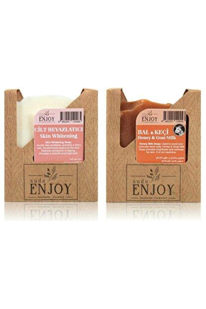 Enjoy Doğal Cilt Beyazlatıcı - Bal Keçi Sütlü El Yapımı Yüz, Saç Ve Vücut Sabunu (ikili Paket)