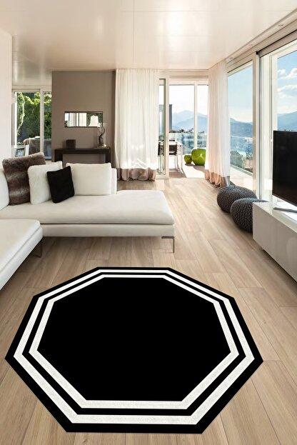 CAPPİO HALI Siyaz Beyaz Sekizgen Yuvarlak Halı