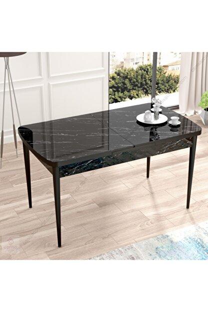 Canisa Concept Canisa Eva Serisi Mdf Siyah Mermer Desen,ahşap Siyah Ayaklı Açılabilir Üst Kalite Mutfak Masası