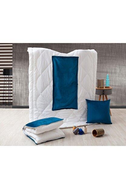 dhinchers Mavi Tek Kişilik Microfiber Kumaşlı Çok Amaçlı Sürpriz Yorgan (150x200) Yastık Sürpriz Yorgan
