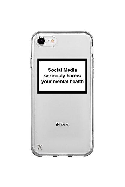 Roxo Case Iphone 7 Baskılı Şeffaf Kılıf Social Media