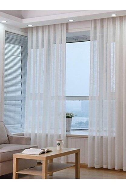 Taç Tül Perde Grek Zemin Ekstraforlu Düz Dikiş - Kırık Beyaz 130x250