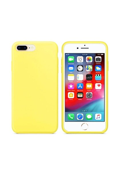 Zengin Çarşım Apple Iphone 7 Plus 8 Plus Içi Kadife Lansman Silikon Sarı Kılıf