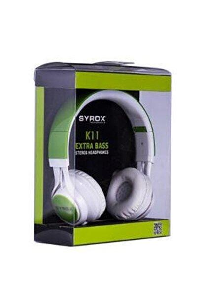 Syrox Unisex Yeşil K11 Mikrofonlu Stereo Kablolu Kulak Üstü Kulaklık