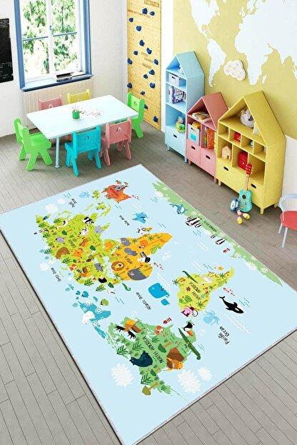 RugViva Kaymaz Tabanlı Halı Çocuk KD81 Dünya Haritası