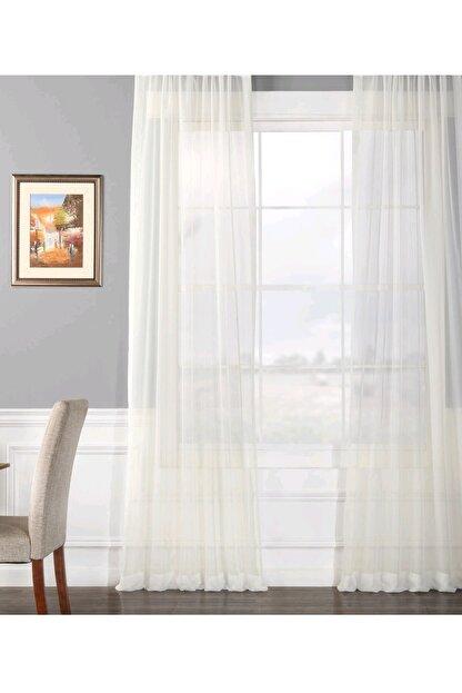 Evdepo Home Hazır 1/2 Seyrek Pileli Vual Tül Perde - Beyaz 350 X 250
