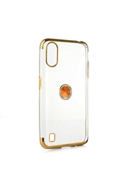 CaseStreet Samsung Galaxy A01 Kılıf Gess Yüzüklü Mıknatıslı Silikon Gold