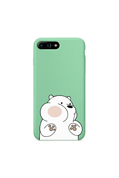 mooodcase Iphone 7 Plus Premium Lansman Pastel Mint Yeşil Telefon Kılıfı Kırmızı Yanaklı Ayıcık Desenli