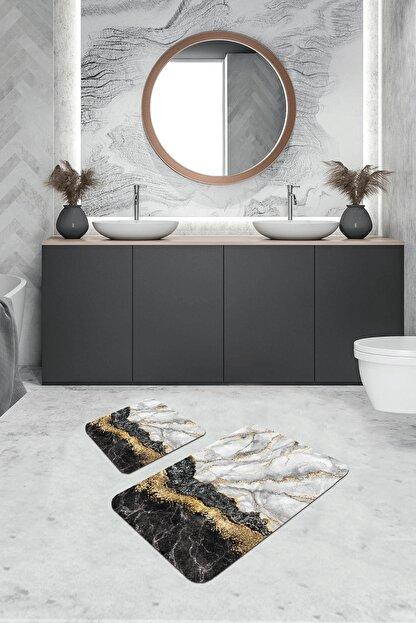 RugViva Dijital Banyo Halısı Klozet Takımı 2'li Paspas Seti Bs305 50x80cm + 50x50cm