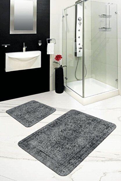 RugViva Dijital Banyo Halısı Klozet Takımı 2'li Paspas Seti Bs239 50x80cm + 50x50cm
