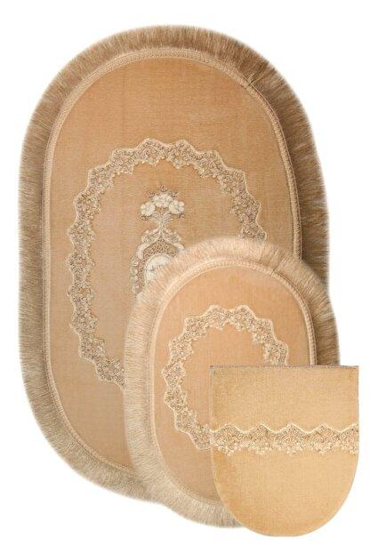 Bonny Home Vizon Exclusive 3lü Oval Çeyizlik Saçaklı Fransız Dantelli Klozet Takımı Banyo Paspas Set