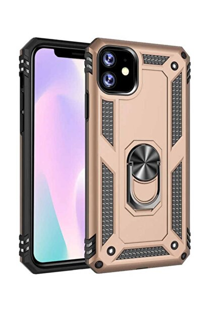 CaseArt Apple Iphone 11 Kapak Military Yüzüklü Stantlı Panzer Tank Kılıf - Gold