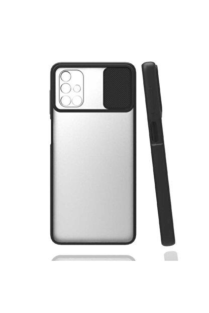 Zore Samsung Galaxy M51 Kılıf Sürgülü Lens Ve Kamera Korumali Renkli Kenar Şeffaf Mat Silikon Kapak