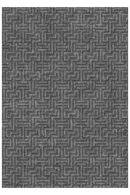 EVİMOD Grey Moderno Yıkanabilir Kaymaz Taban Dekoratif Halı Kilim 30701