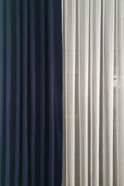 De'Vor Kadife Görünümlü Kalın Fon Perde - Gece Mavisi (150x250)