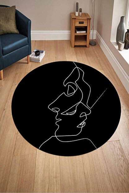 WOOLLY HOME COLLECTİON Siyah Beyaz Çizgili Byn Desen Yuvarlak Halı (makinede Yıkanabilir Kaymaz Deri Taban -w575)