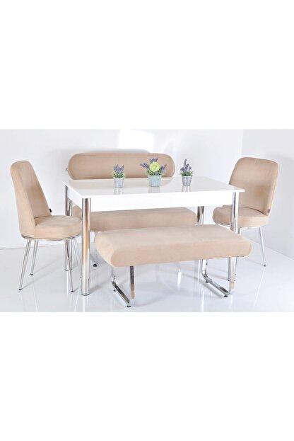 Kaktüs Avm 6 Kişilik Masa Sandalye Takımı Banklı Mutfak Masası Bank Takımı