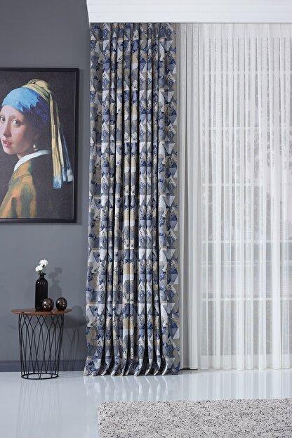 Elenor Mavi / Gri Geometrik Desenli Renkli Fon Perde Zack - Pilesiz - Büzdürmeli Ekstrafor