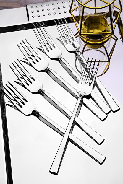 Kitchen Life 6 adet Lüx Titanyum Gümüş Yemek Çatal Seti