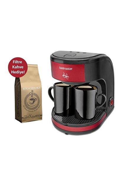 GoldMaster Bi Kahve Kırmızı Çift Kupalı Filtre Kahve Makinesi Filtre Kahve Hediyeli