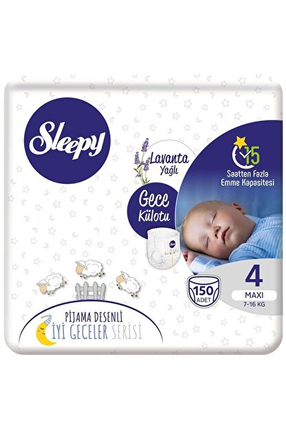 Sleepy Gece Külotu Lavanta Yağlı 4 Numara Maxi 150 Adet