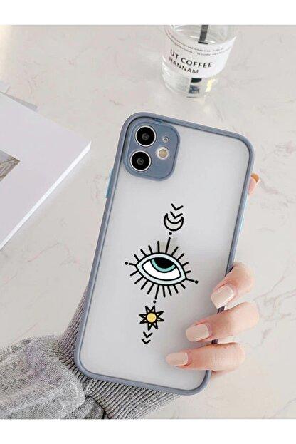 mooodcase Iphone 11 Uyumlu Füme Kamera Lens Korumalı Nazar Göz Desenli Lüx Telefon Kılıfı
