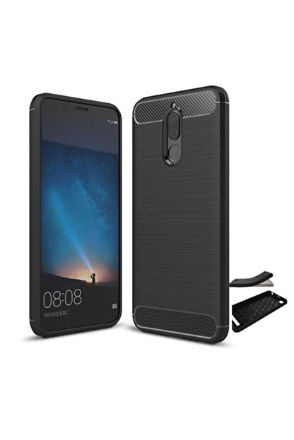 Huawei Teleplus Mate 10 Lite Özel Karbon Ve Silikonlu Kılıf Siyah