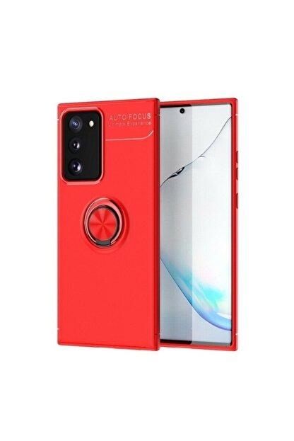 Samsung Teleplus Galaxy S20 Fe Kılıf Ravel Yüzüklü Silikon Kırmızı + Nano Ekran Koruyucu