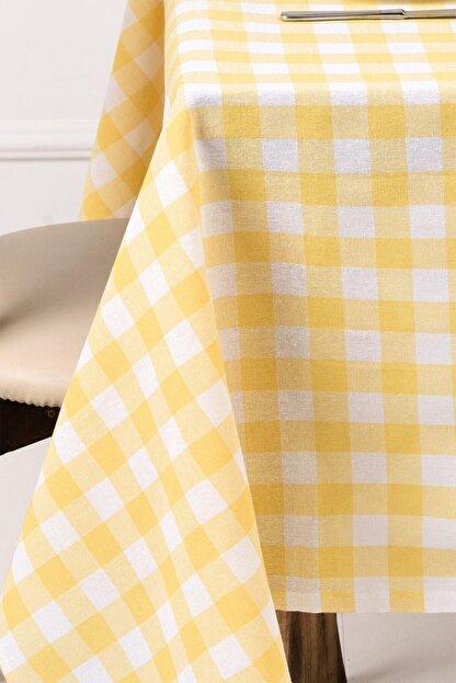 ikiparça Sarı Büyük Kare Desen Pötikareli Sofra Bezi Masa Piknik Örtüsü